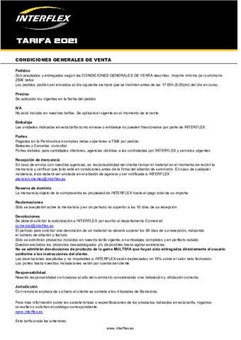 INTERFLEX - Tarifa 2021: Revisión octubre