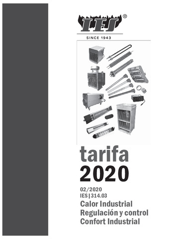 Tarifa calor industrial 2020