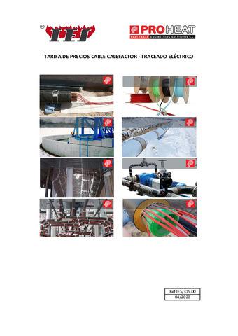 Tarifa traceado eléctrico PROHEAT 2020