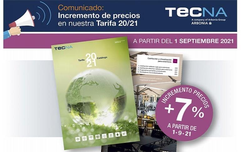TECNA incrementa los precios en su tarifa 20/21