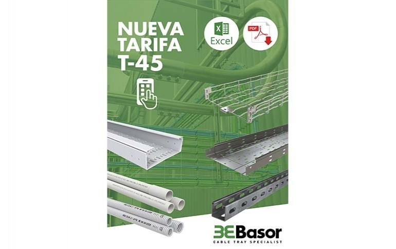 Basor Electric actualiza su tarifa de precios a la versión T-45