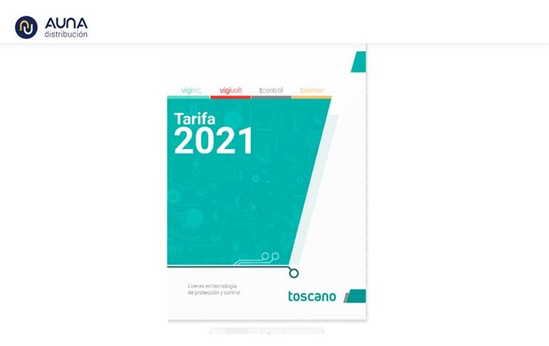 Nueva tarifa de Toscano para 2021