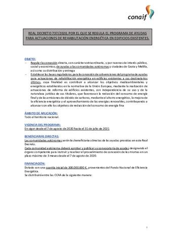Real decreto 737/2020, por el que se regula el programa de ayudas para actuaciones de rehabilitación energética en edificios existentes.